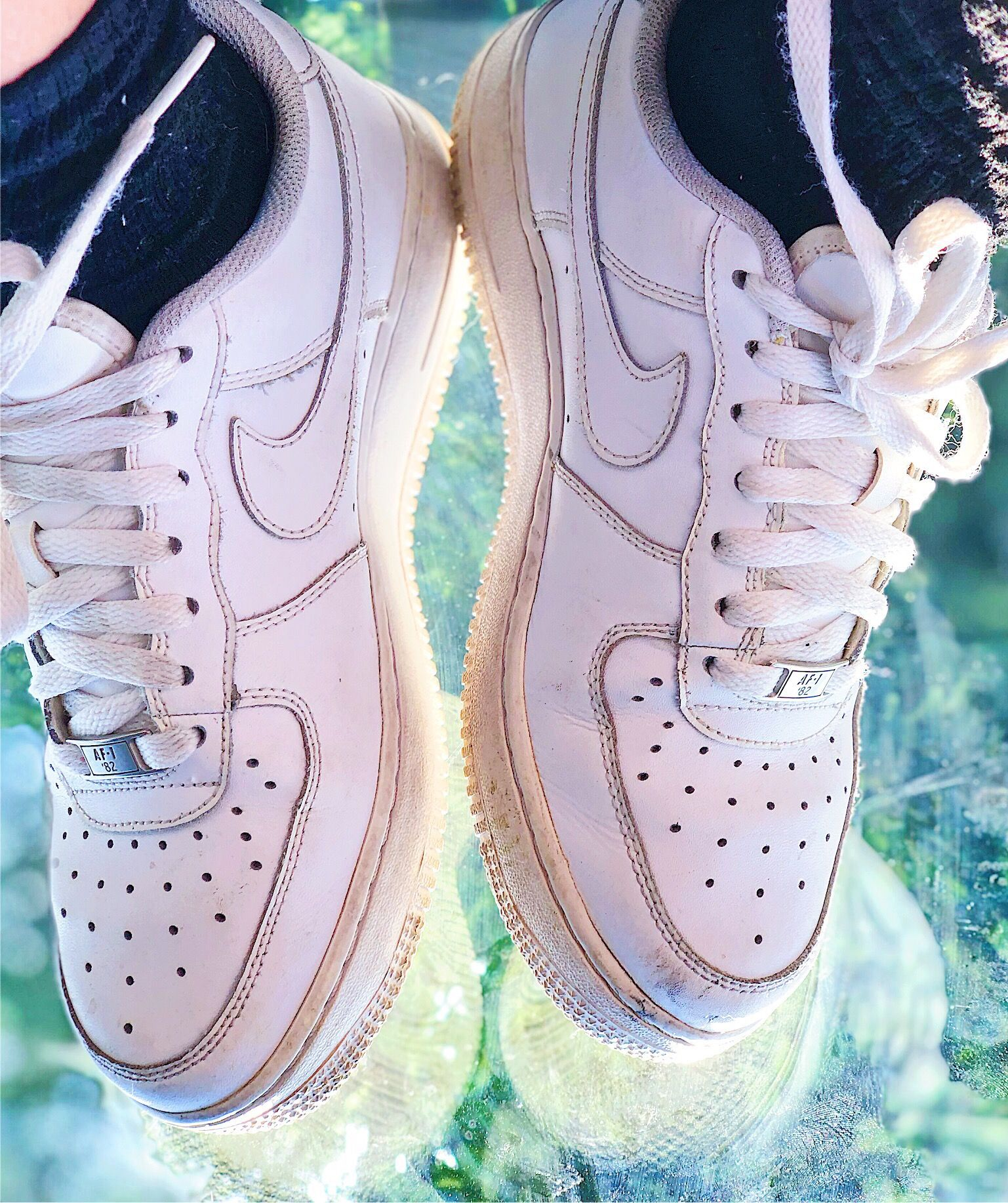 white nike air force ones vintage shoes aesthetic 90s old vsco ... b671dad80
