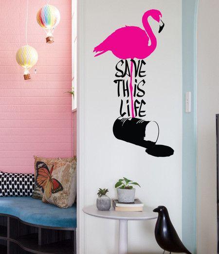 Adesivo de parede save this life flamingo - StickDecor | Decoração Criativa