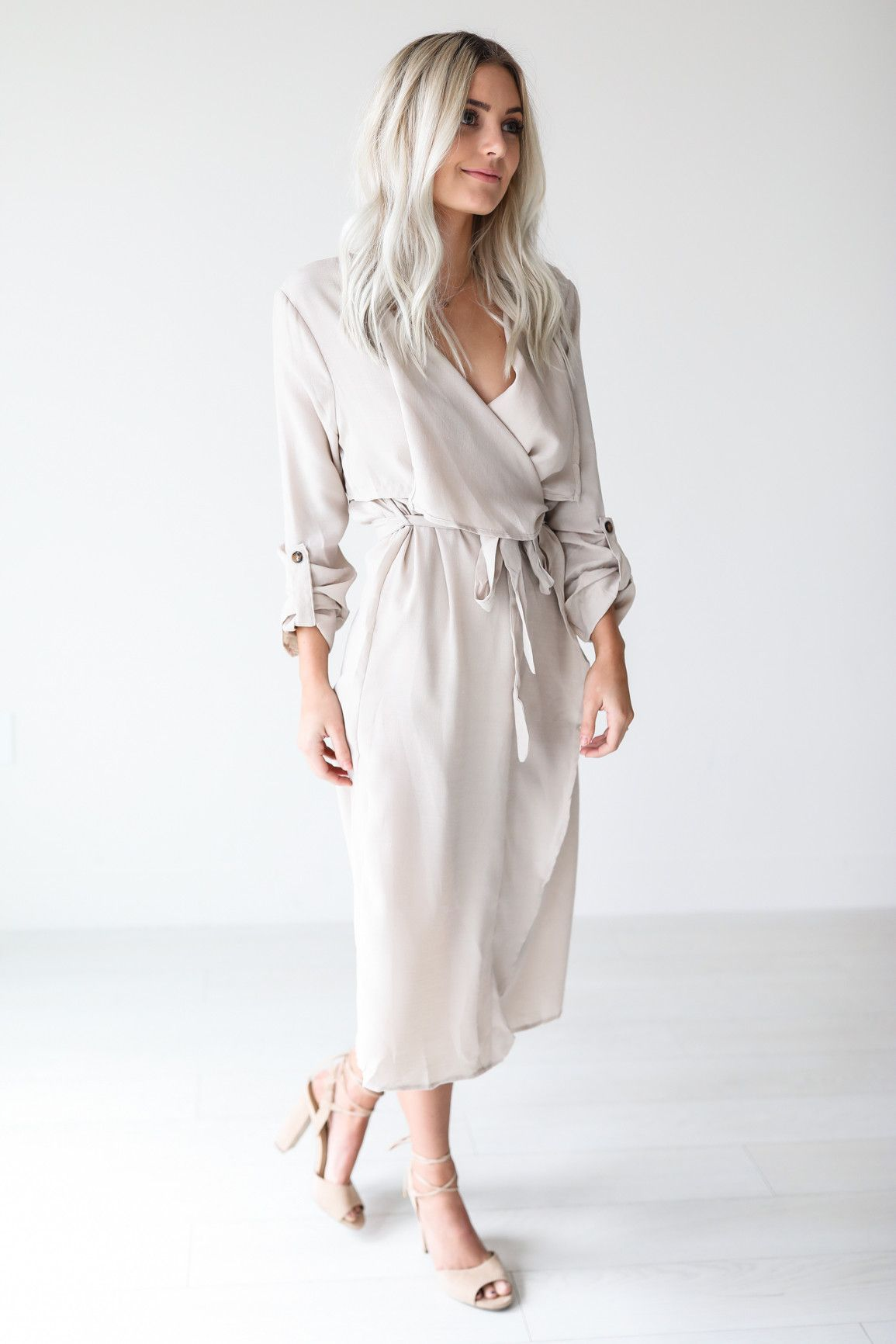 Beige collared long sleeved wrap dress u available in sizes s m l