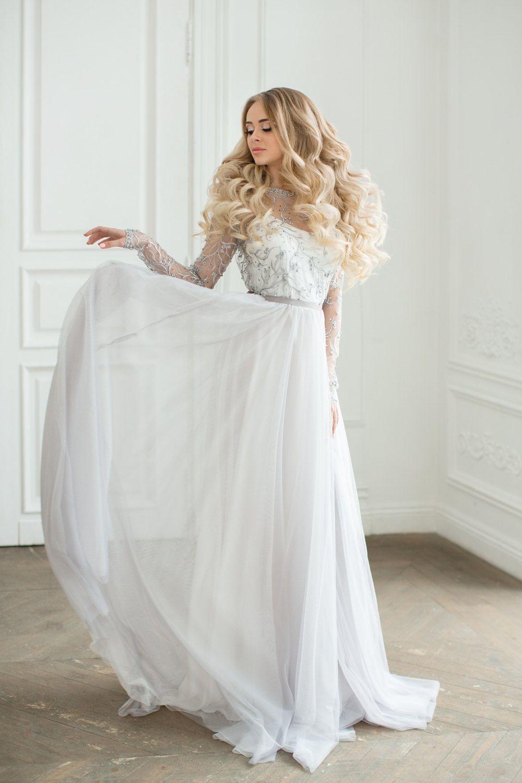 Grey lace wedding dress  Grey lace wedding dress uVERAu  Wedding dress with long sleeves