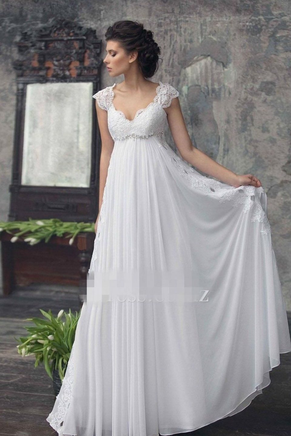 2017 Empire Maternity Wedding Dresses Beaded Lace Chiffon Weddingdresses Weddingdr In 2020 Empire Wedding Dress Empire Waist Wedding Dress Bohemian Wedding Gown
