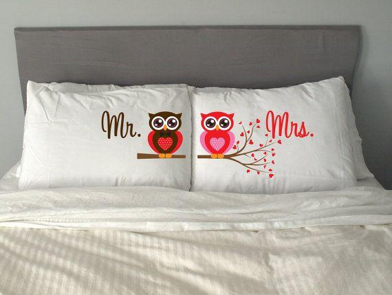 Día perfecto regalo novios m9 Señor Señora búho almohada por artEVO