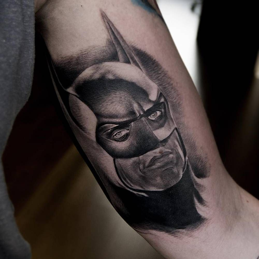 Black and grey style Batman portrait tattoo on the left ...