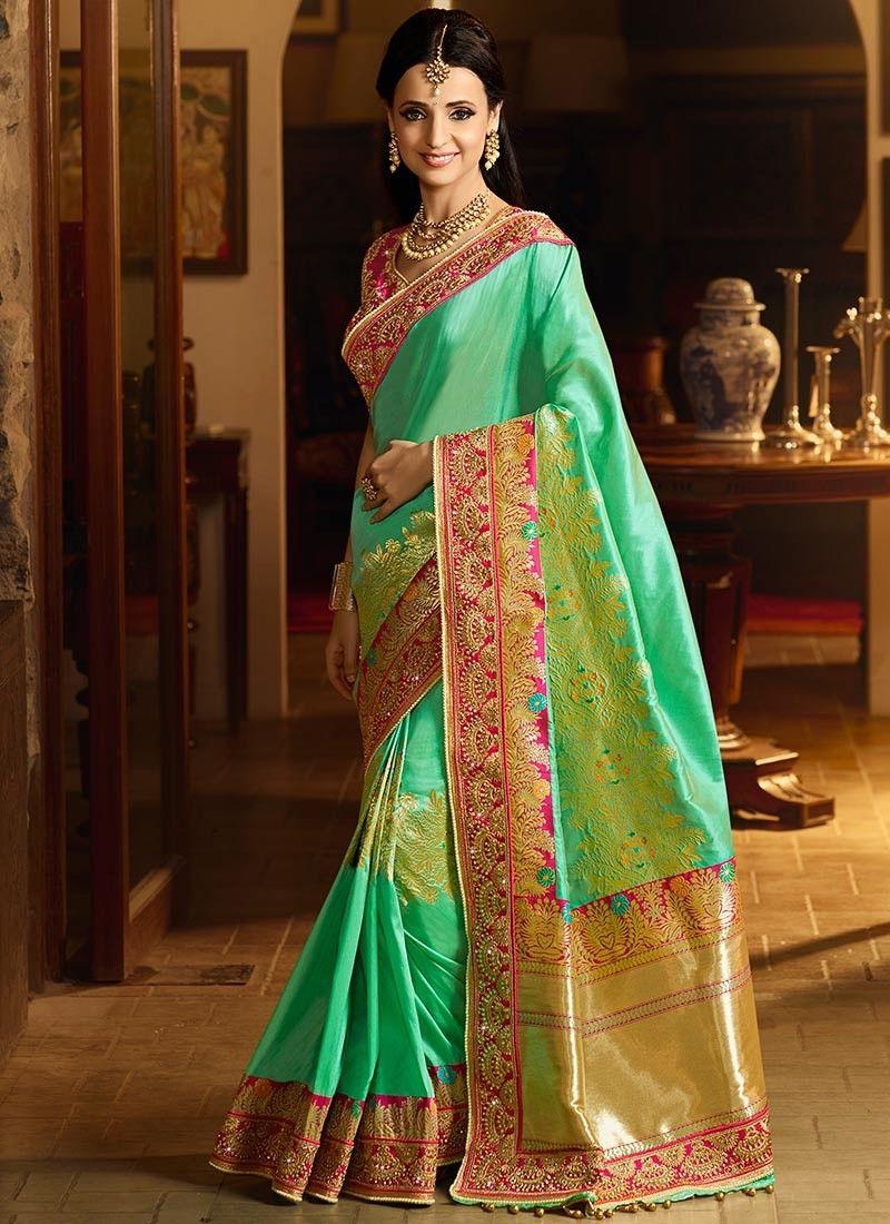75e76e624c968 Sanaya Irani Sea Green Weaving Work Designer Traditional Saree in ...