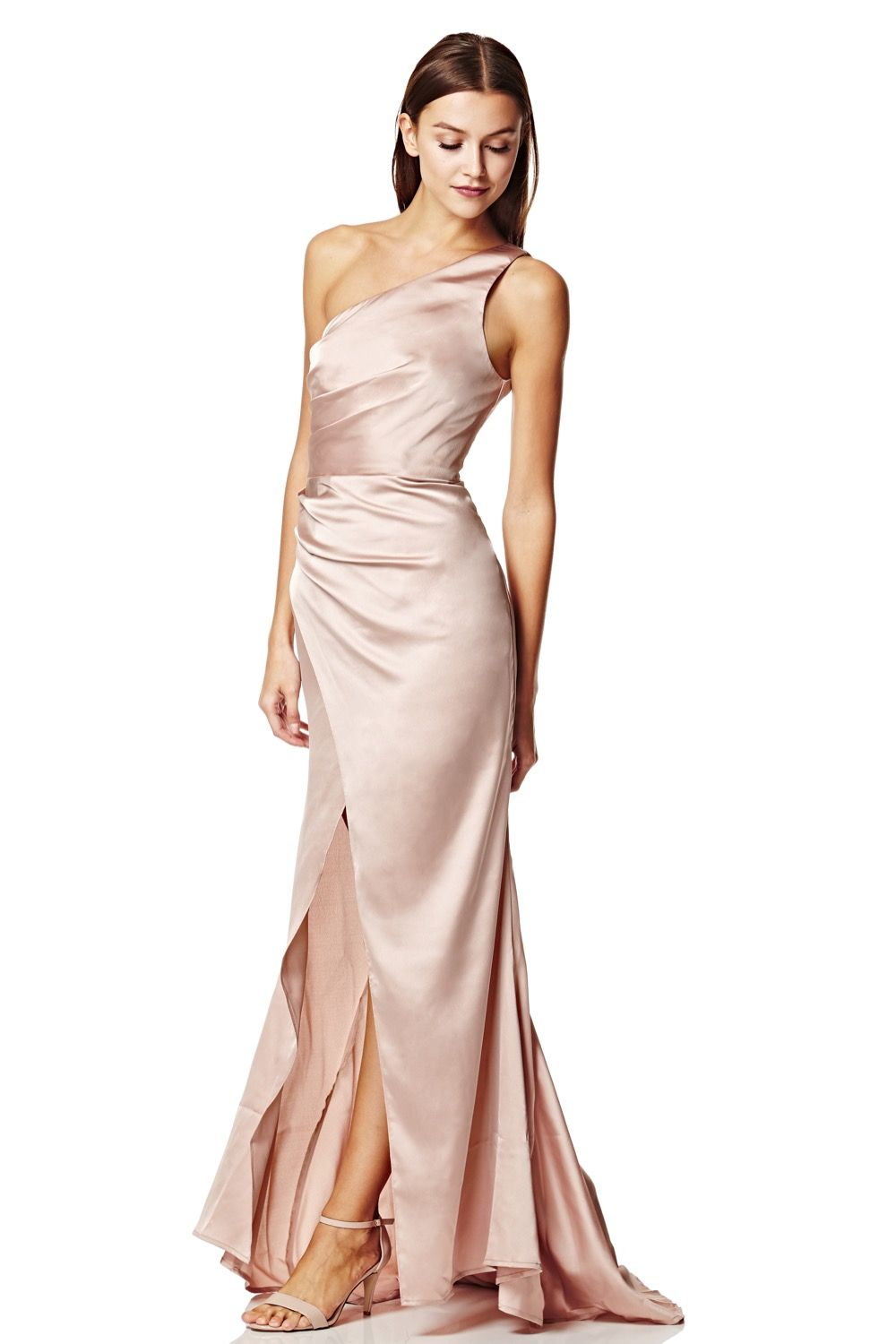 0332c8e083 Lisa One Shoulder Slinky Maxi Dress with Pleat Detail. #ootd #lookoftheday  #occasionwear #satindress #satingown #bridesmaids #ontrend #weddings ...
