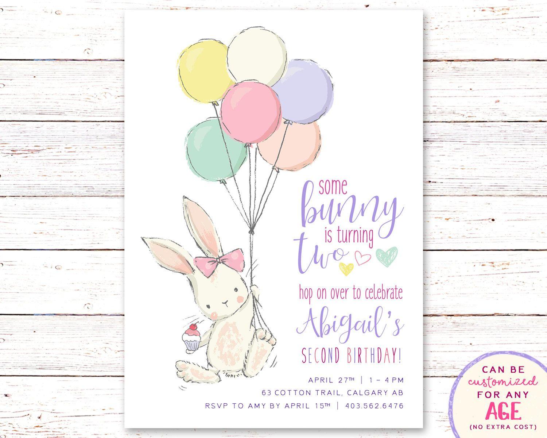 birthday invitation bunny birthday