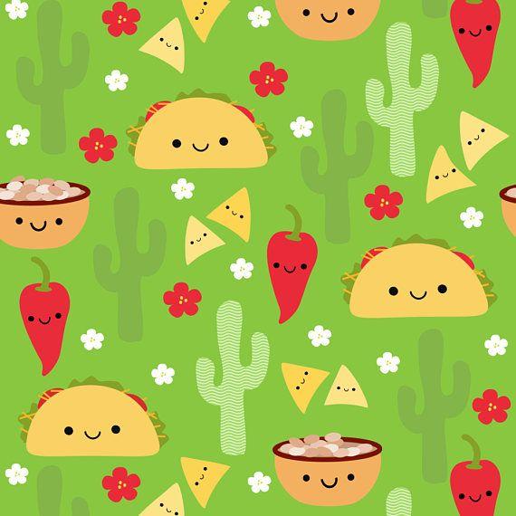 Taco Fabric Happy Tacos And Friends Green By Clayvision Etsy Taco Wallpaper Happy Taco Tacos