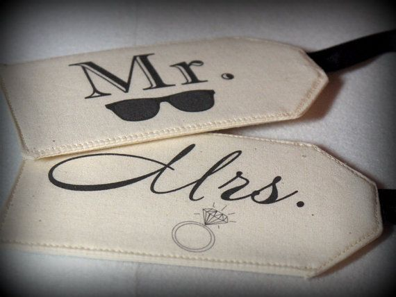 MR. with Shades & MRS. with Ring - Fabric Luggage Tags, Destination Wedding, Bride and Groom