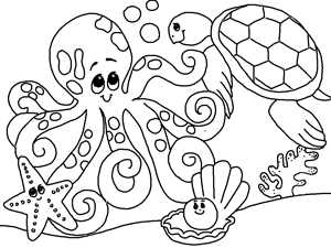 free printable sea animals coloring book for kids - Cute Ocean Animals Coloring Pages