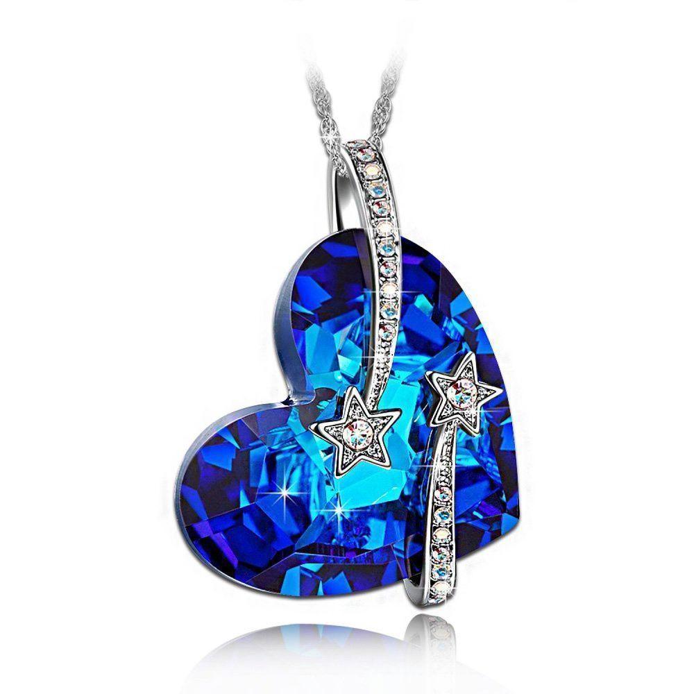 "LadyColour ""Venus"" Shooting Star & Engraved Bermuda Blue Heart Pendant Necklace  #LADYCOLOUR #CrystlasfromSwarovski"