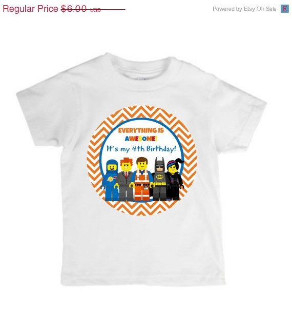 on sale diy iron on design lego movie birthday party t shirt