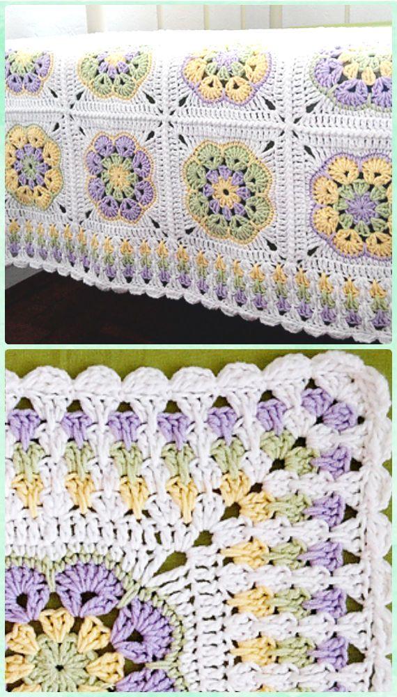 Crochet Granny Spike puntada libre patrón de la frontera   Mantas ...