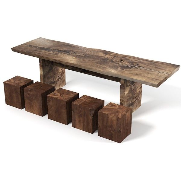hudson furniture rustic 3d 3ds - Hudson Furniture Rustic Teak Wood Dining  table and cube c