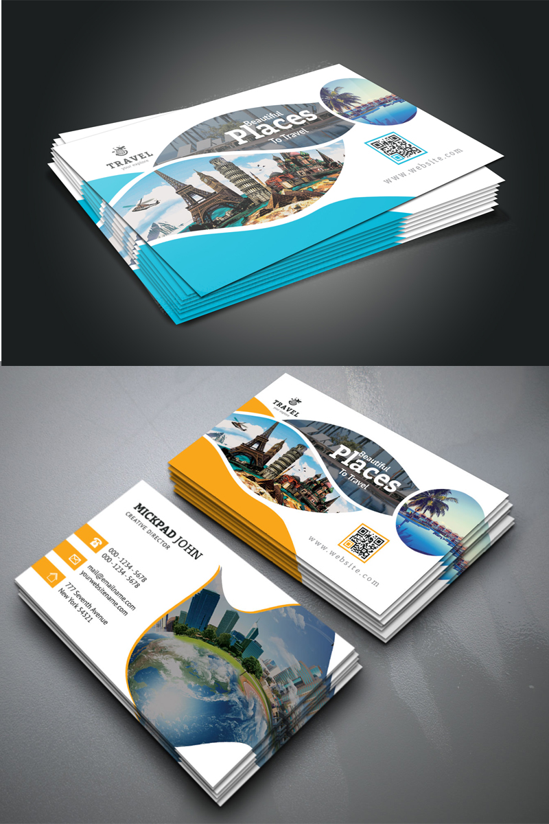 Beautiful Travel Business Card Design Wave Design Business Cards Corporate Identity Graphic Design Business Card Business Card Pattern