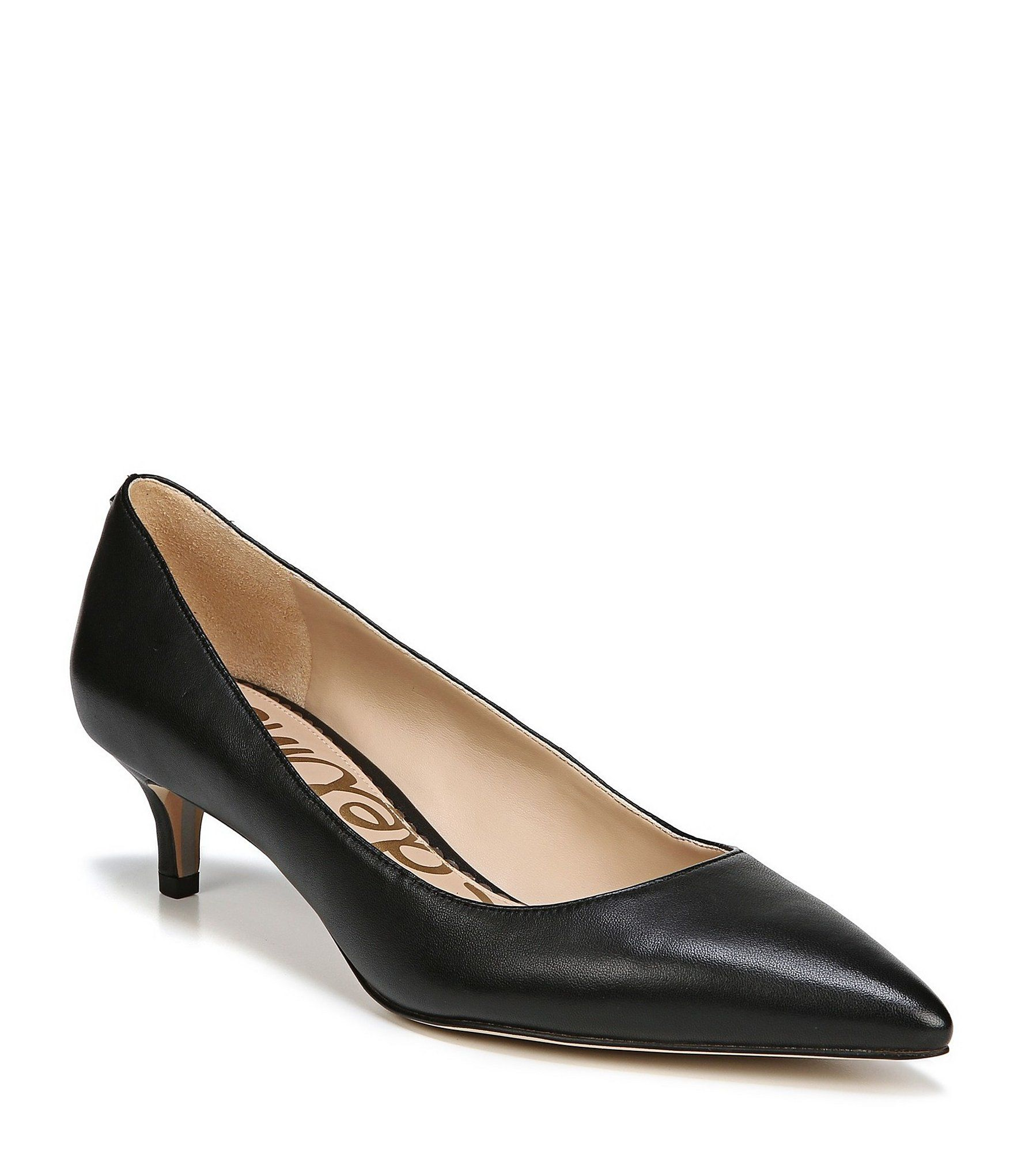 Sam Edelman Dori Leather Kitten Heel Pumps Dillard S In 2020 Kitten Heel Pumps Black Pumps Heels Kitten Heels