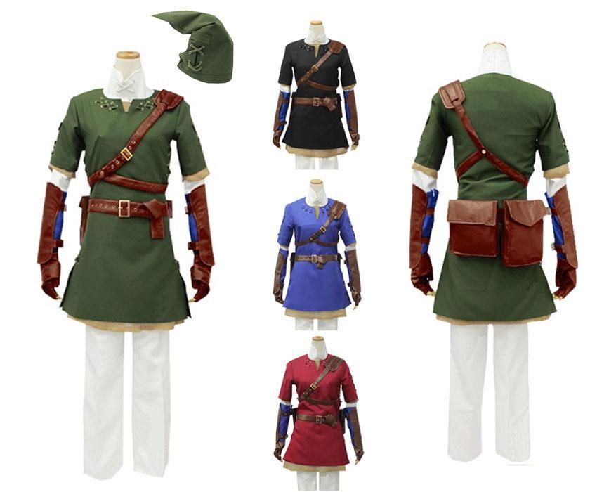 The Legend of Zelda Link Cosplay Costume Uniform Tops Shirt Pants Hat Belt Bags