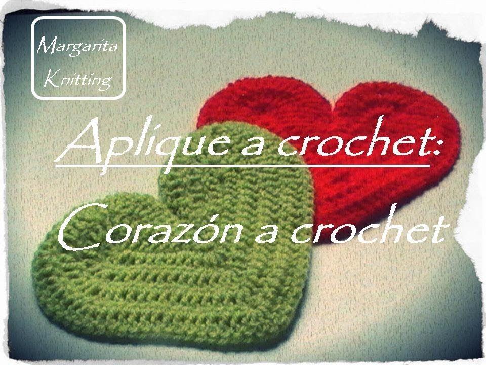 Aplique a crochet: corazón a crochet (diestro) | manualidades ...