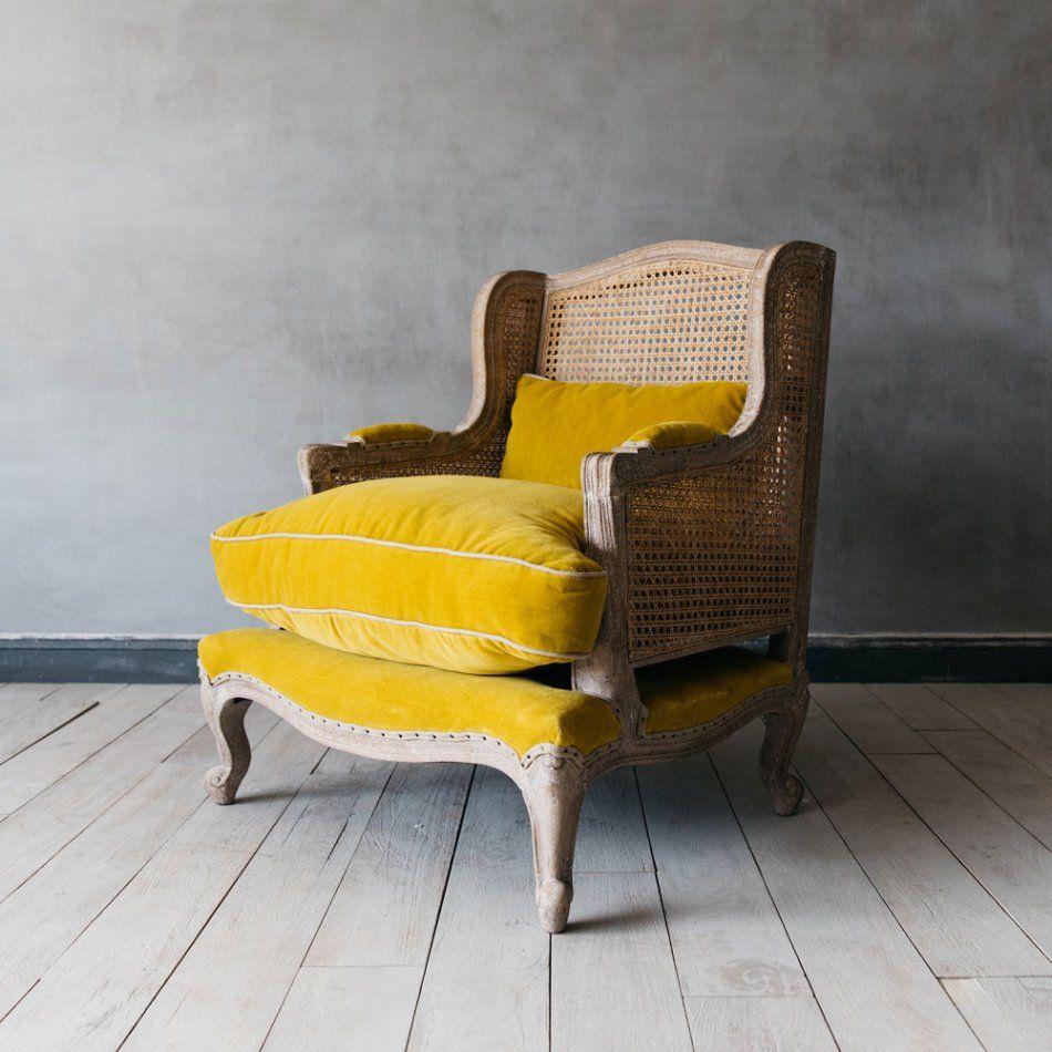 Caden cane yellow velvet armchair リビング
