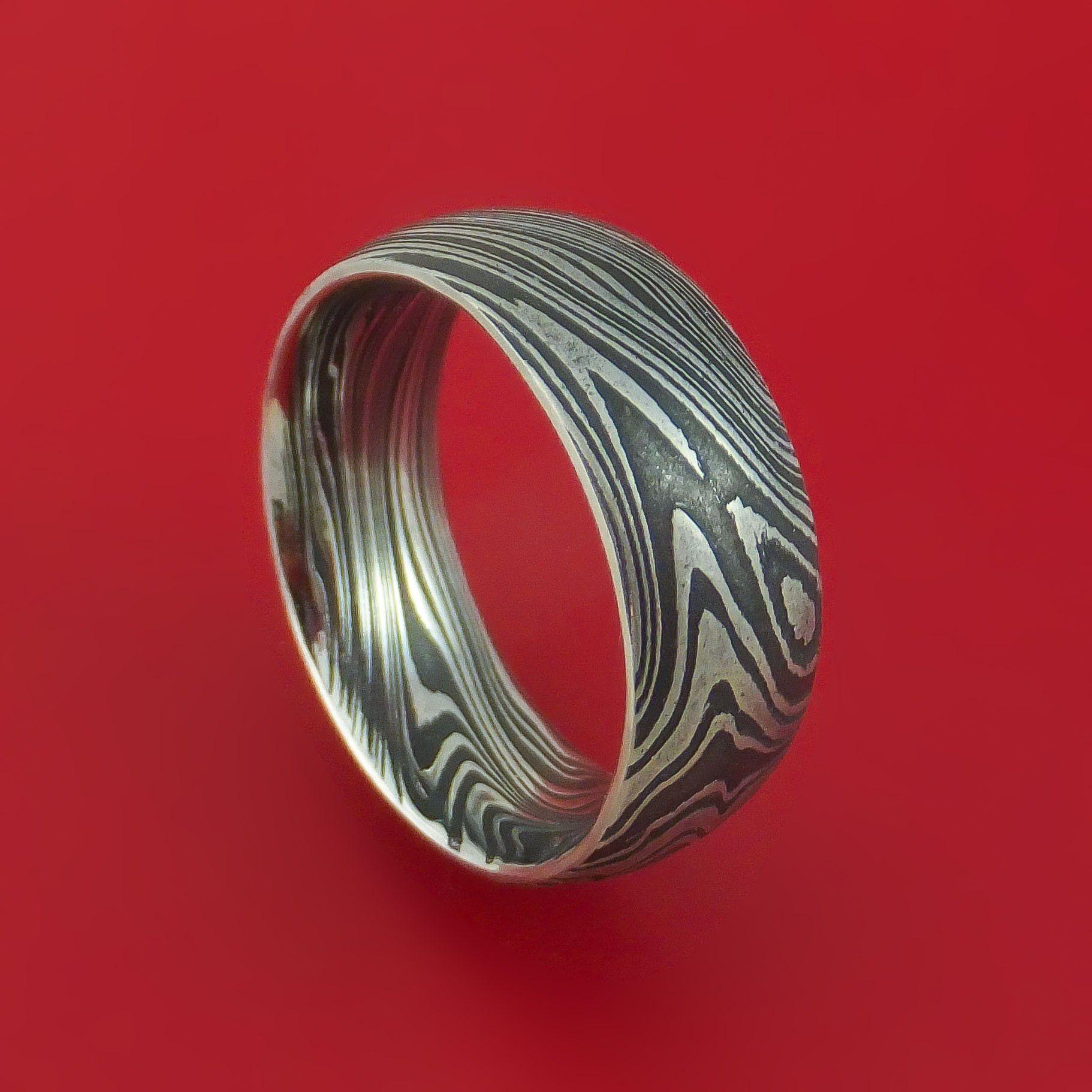Marbled Kuro Damascus Steel Ring Custom Made Band Damascus Steel Ring Steel Wedding Bands Damascus Steel Wedding Band