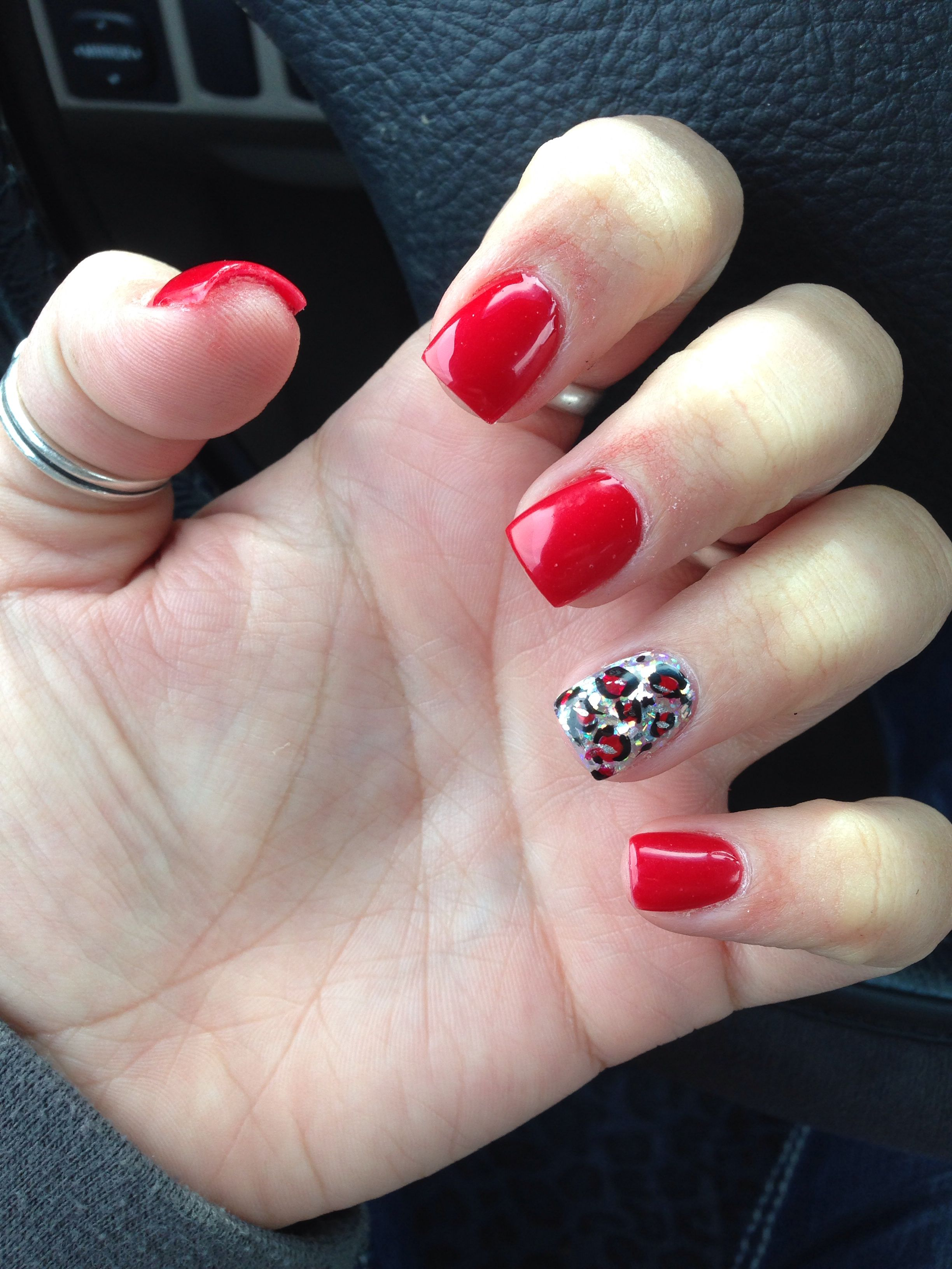Red And Silver Solar Nails With Cheetah Design My Style