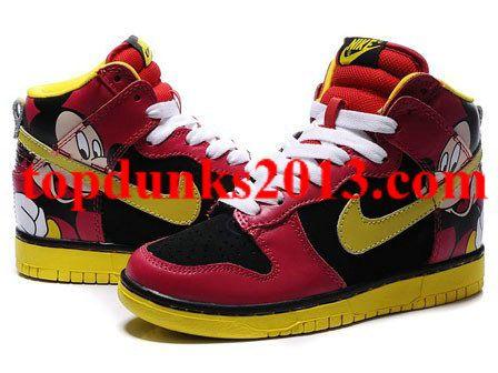 Nike High Cut 2012 Dunk Sb Mickey Women Skateboard Shoes Black Mouse Red White Yellow
