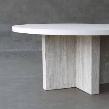 Round Concrete And Elm Dining Tables On T Base Mecox Gardens Round Concrete Dining Table Elm Tables Dining Table