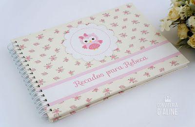 Caderno Personalizado Corujinha Para recados pra bebê :)