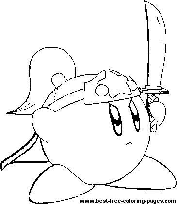a great coloring page of kirby holding a sword