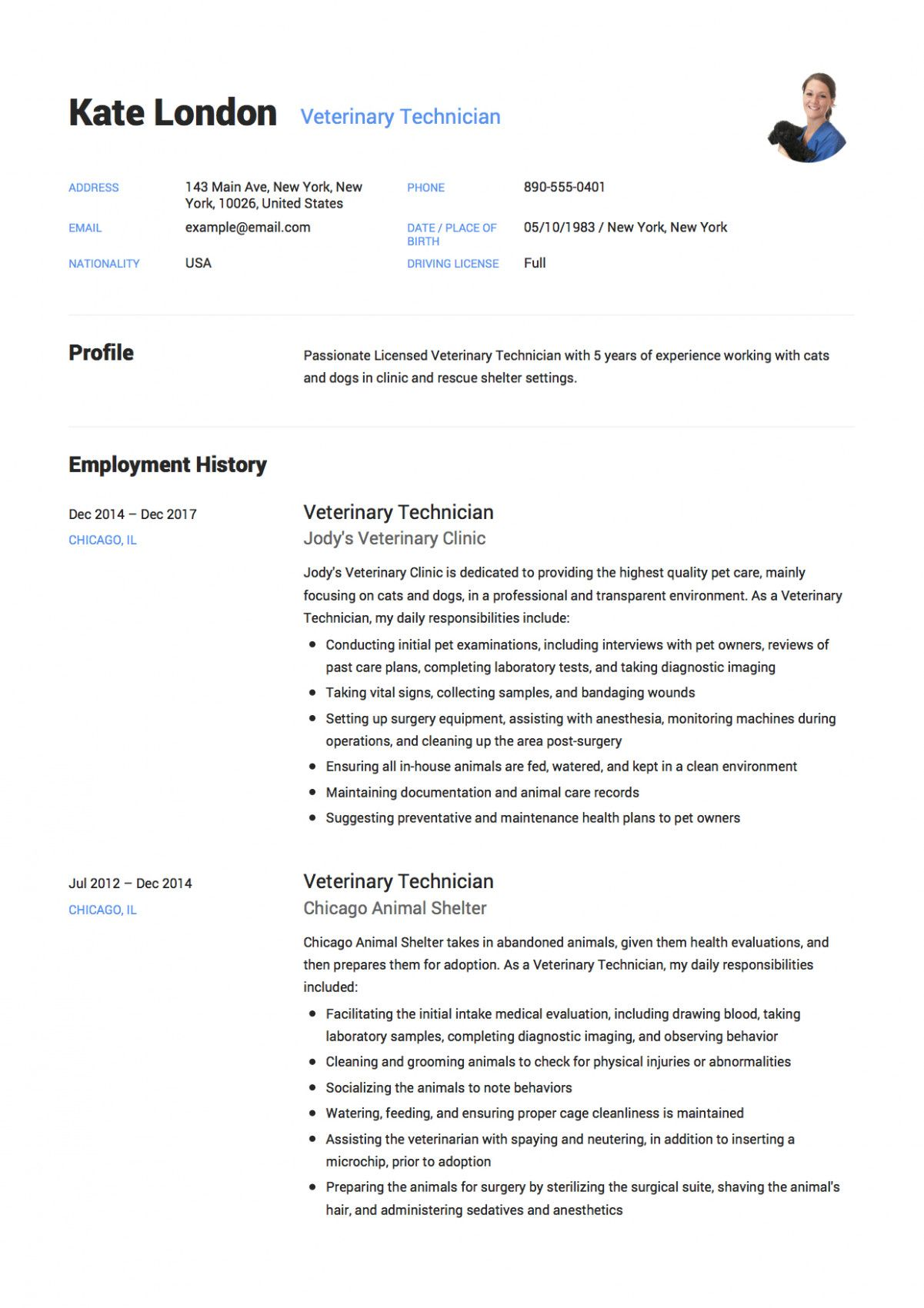 veterinary assistant resume objective
