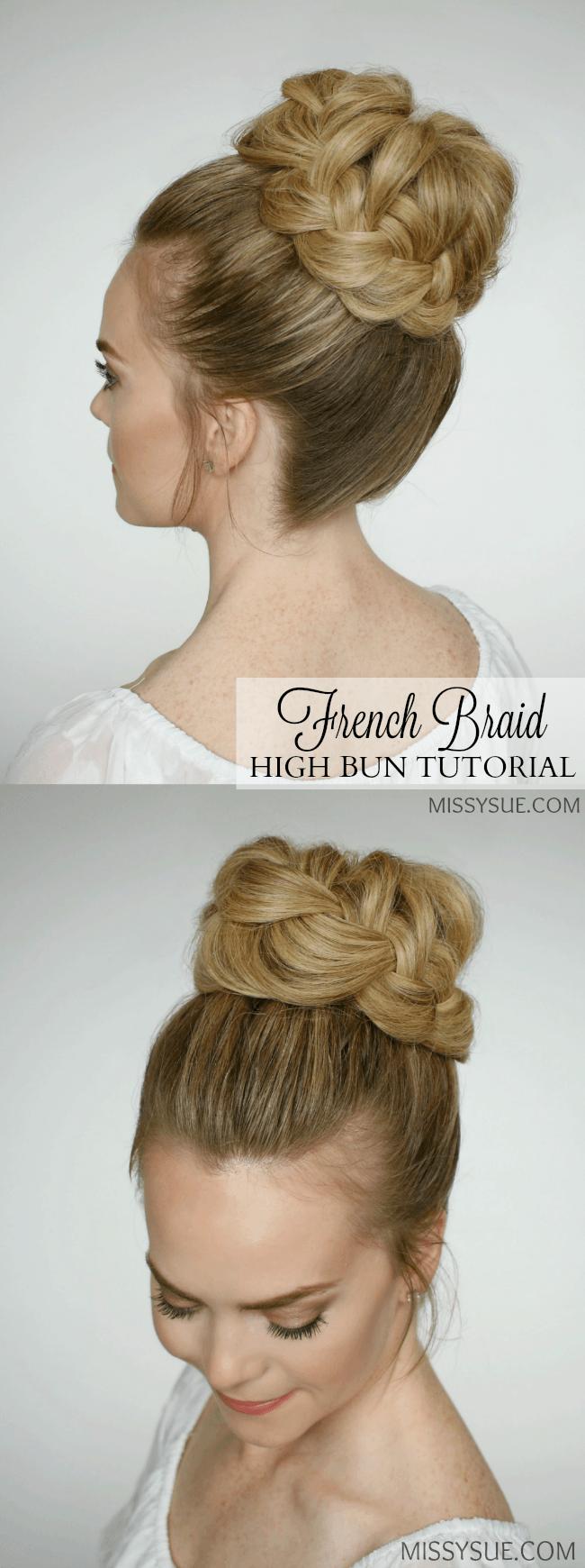 Frenchbraidhighbunhairstyletutorial Hair Tutorials - High bun hairstyle tutorial
