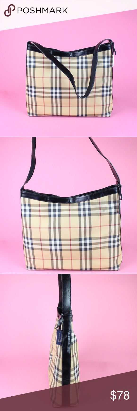 bb9a928c4fb8 Burberry London Shoulder Bag Patterned Plaid Lovely bag! Does have a lot of  staining.