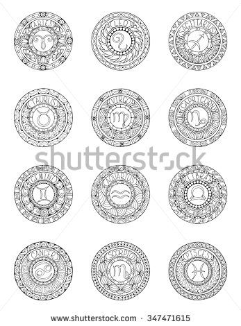 Zodiac Signs And Constellations In Mandala With Ethnic Pattern