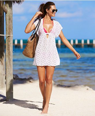 Becca Cover Up, Short-Sleeve Crochet Dress & Reviews - Swimwear - Women - Macy's