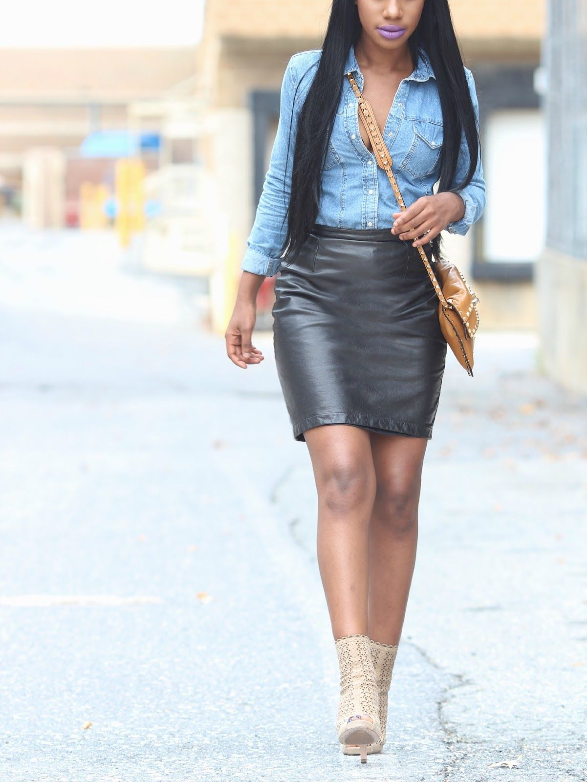 ROCHELLE: Denim Shirt Topshop / Leather Skirt Thrifted / Ba ...