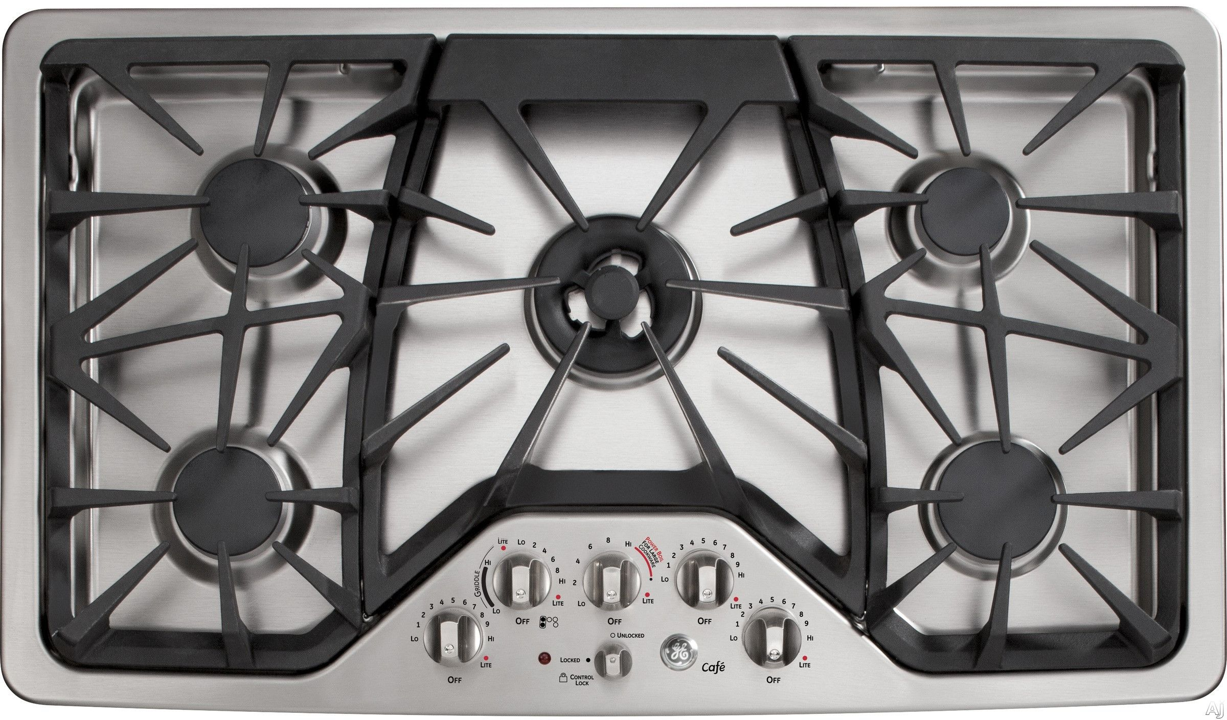 Ge Cafe Series Cgp650setss 36 Inch Gas Cooktop With Griddle Accessory Precise Simmer Burner Sealed Burners 20 000 Btu Heavy Cast Grates