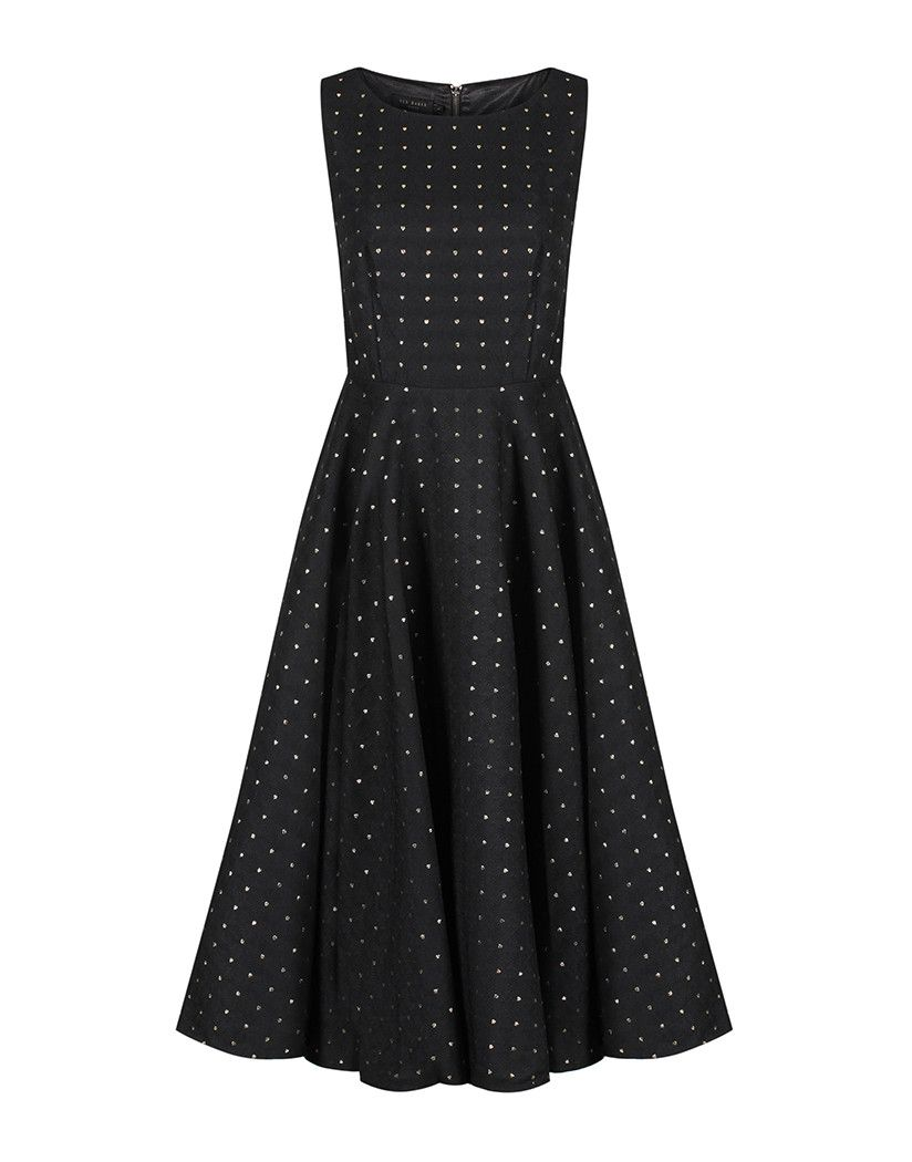 01e62e91c Make a statement this party season with the gorgeous Lysanda jacquard dress.  In an elegant midi length style with cut out side detailing