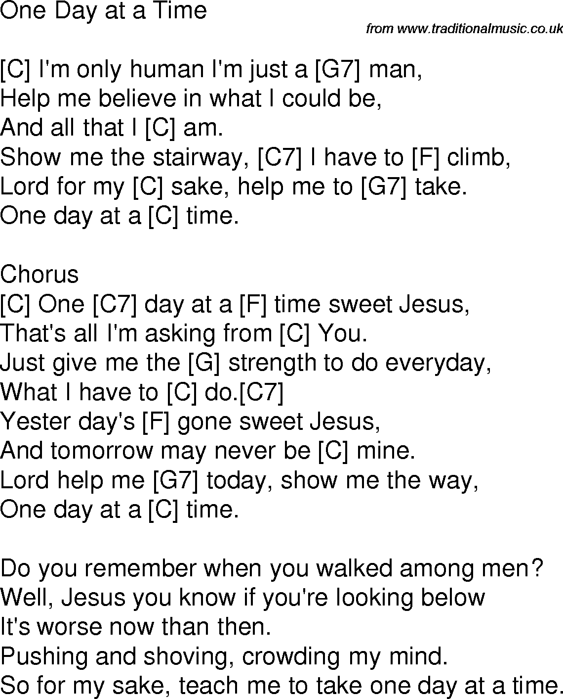 Old Time Song Lyrics With Chords For One Day At A Time C Music