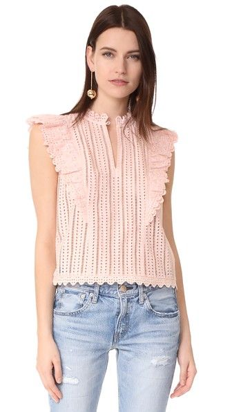 7586186783297 Rebecca Taylor  Celsie  Eyelet Top in Shell Pink