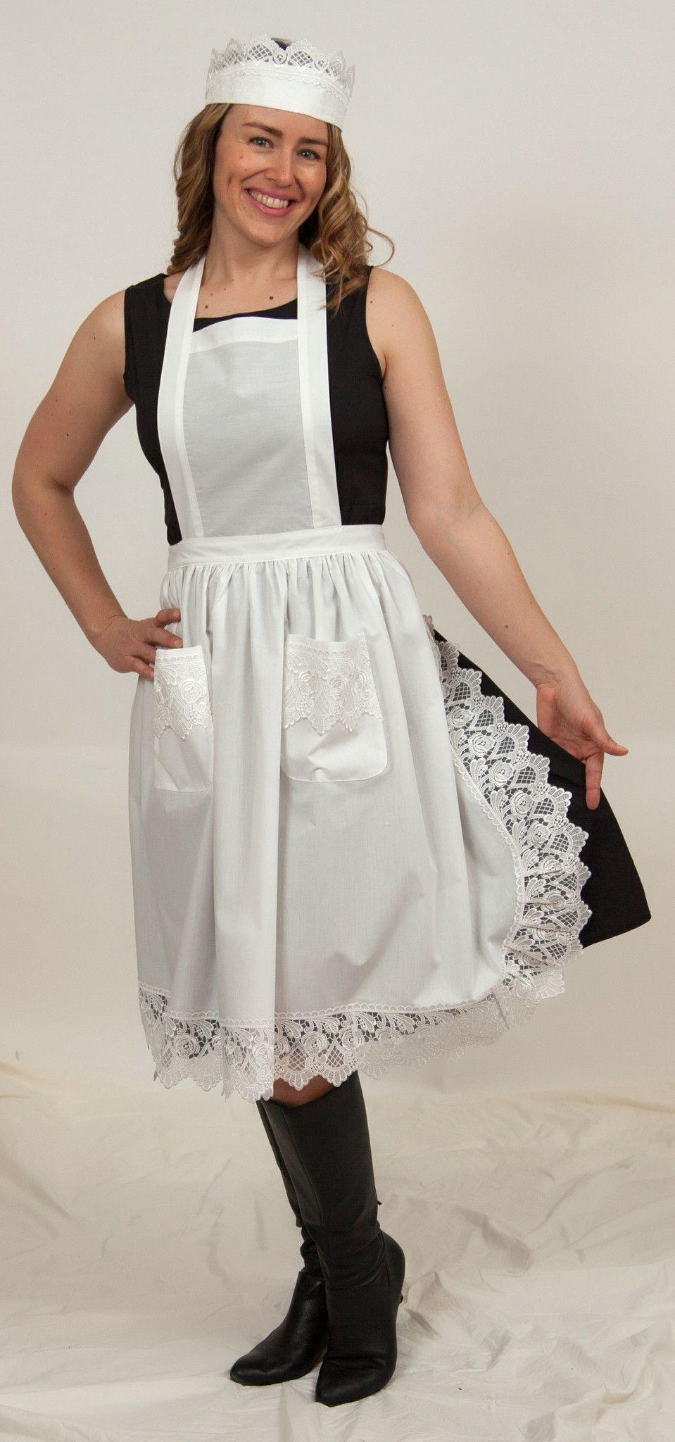 White apron costume -  Maid Costume White Lace Headband And Adult Full Lace Apron Costume