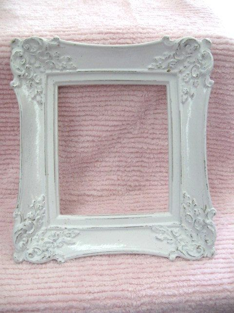 White Shabby Chic Frame Very Ornate Fabulous Carved 11 X 10 Chippy