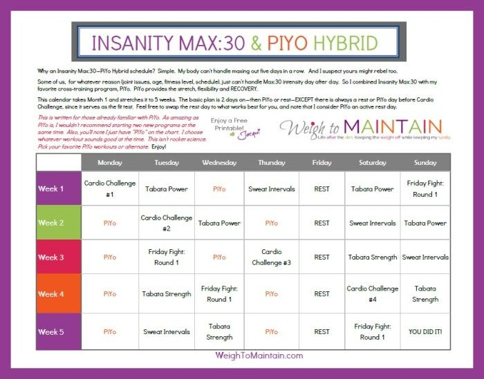 Insanity Max30 PiYo Hybrid Calendar Use this Insanity Max30 and - workout calendar template