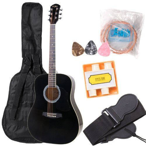 Kalos 41 Inch Acoustic Dreadnought Guitar Pack Black Dgp 41bk Kalos Http Www Amazon Ca Dp B003d19psg Ref Cm Sw R Pi D Guitar Best Acoustic Guitar Acoustic