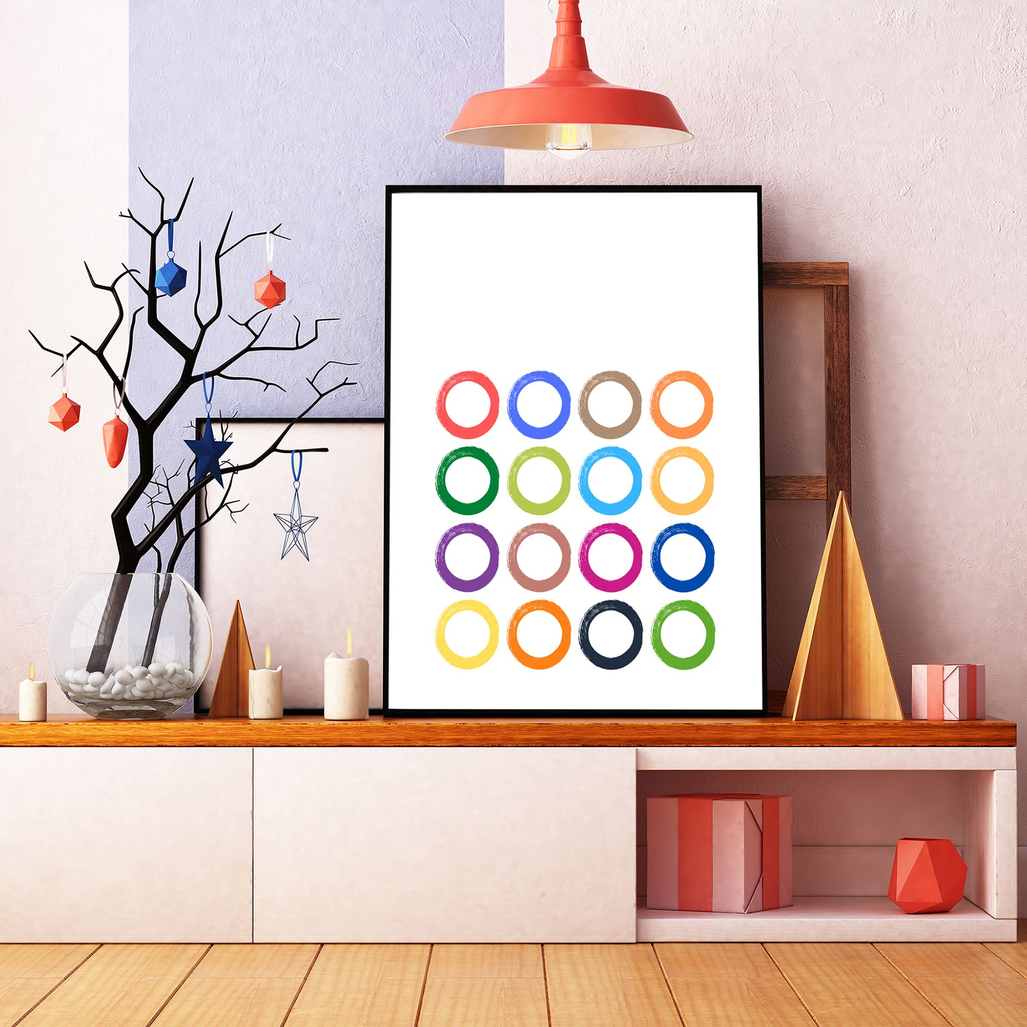 Colorful Circles Abstract Art Geometric Poster Abstract Etsy In 2020 Printable Wall Art Geometric Poster Modern Wall Decor