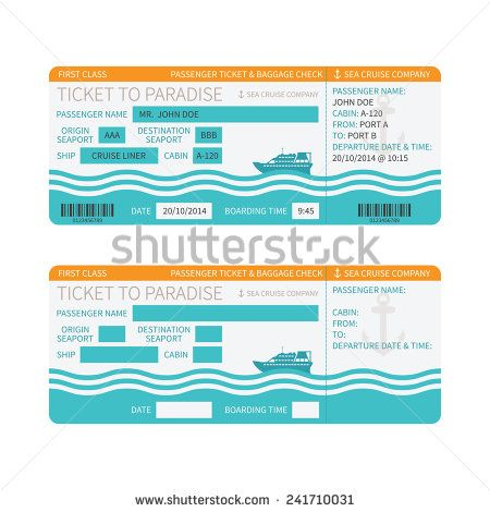 Sea Cruise Ship Boarding Pass Or Ticket Bitmap Template