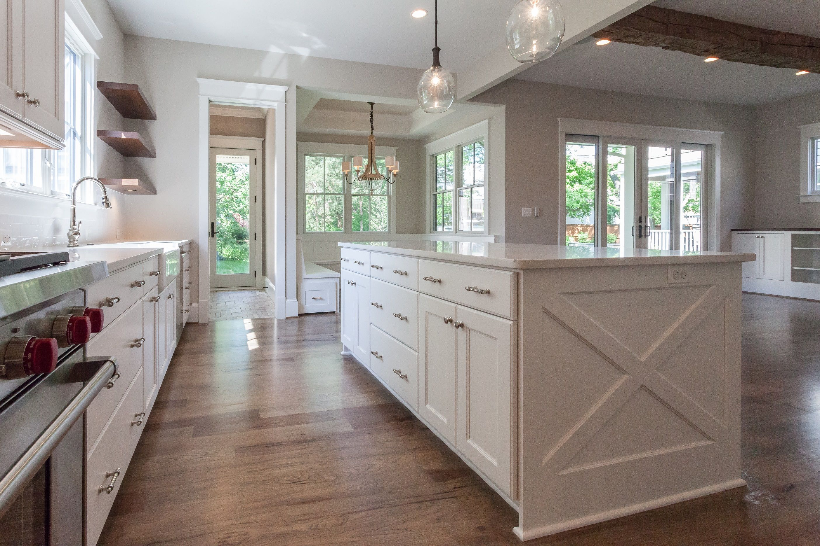 farmhouse inspired white kitchen with wood open shelves built in banquette breakfast nook and on farmhouse kitchen open shelves id=99117