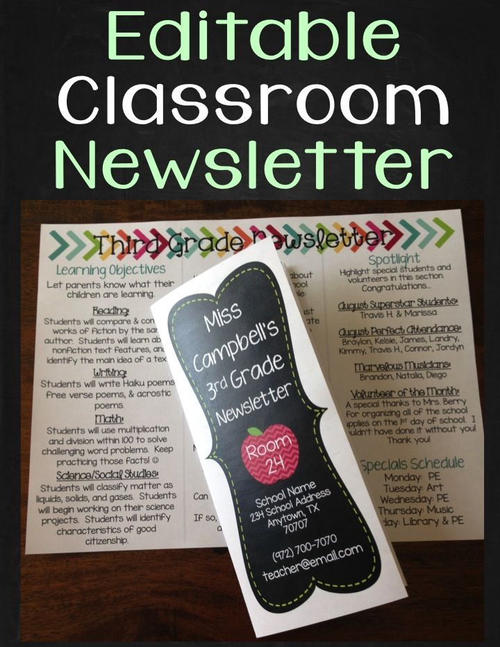 Newsletter Template - Editable Classroom Newsletter Brochure - editable classroom newsletter