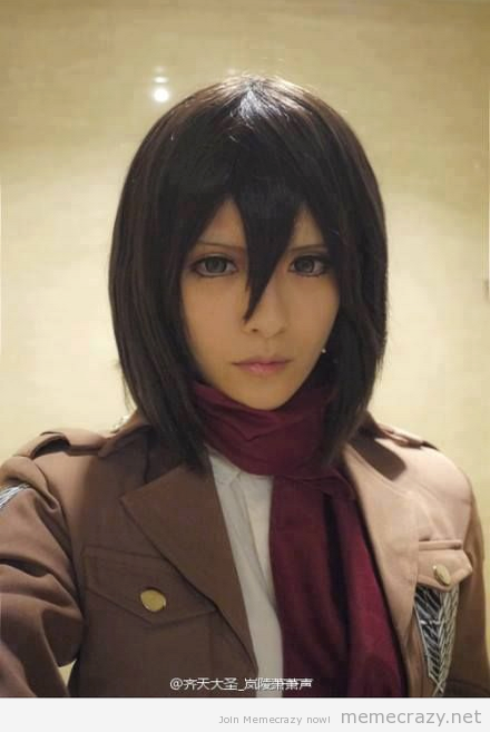 mushymarshmallowpandamonster:  Mikasa Cosplay *o* #cosplay