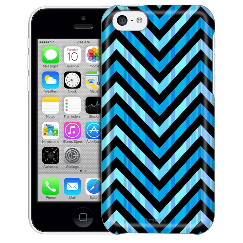 Apple iPhone 5C Blue Striped Chevrons Black Case