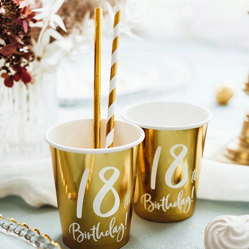 Kubeczki Na 18 Urodziny Zlote 6szt Paper Party Cups Birthday Party Cups Birthday Party Paper