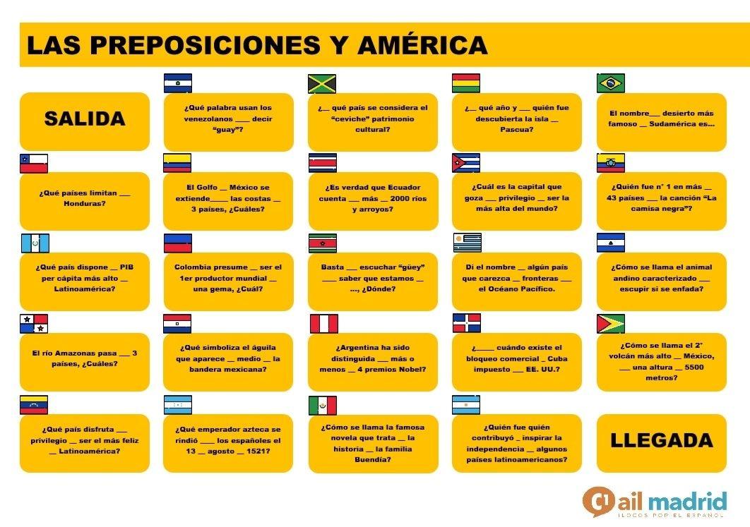 Para Revisar Las Preposiciones Y Aprender Sobre América Descarga El Pdf Con La Ficha De Explotación En Https Www Ailmadrid Com Preposiciones Fichas Palabras